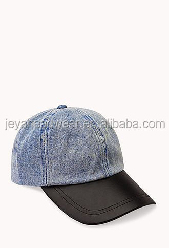 Denim baseball cap black leather brim baseball cap headwear sun protection racing cap