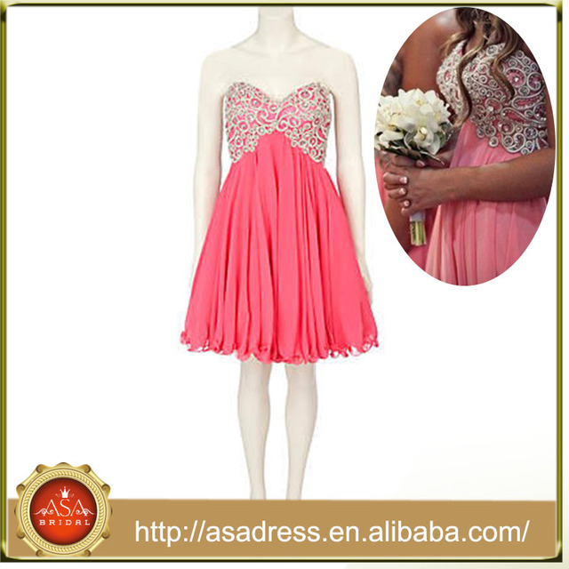 Hot Sale Chiffon Lace Coral Bridesmaid Dress(AC-1001)