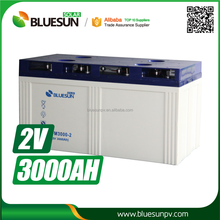 Bluesun gel battery 2v 3000ah for electric motorcycle made in china