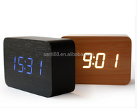 Powered Cube LED Digital Alarm Clock Square Modern Wood Clock Thermometer Temp Date Display Calendars Desk Table Clock