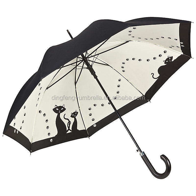 Double Layer Walking Umbrella - Black Cats fashion straight ladys rain &sun umbrella