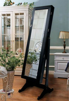 Wooden furniture mirror jewelry cabinet