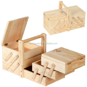 Wholesales packaging box cheap pine unfinished cantilever folding wooden tool sewing box