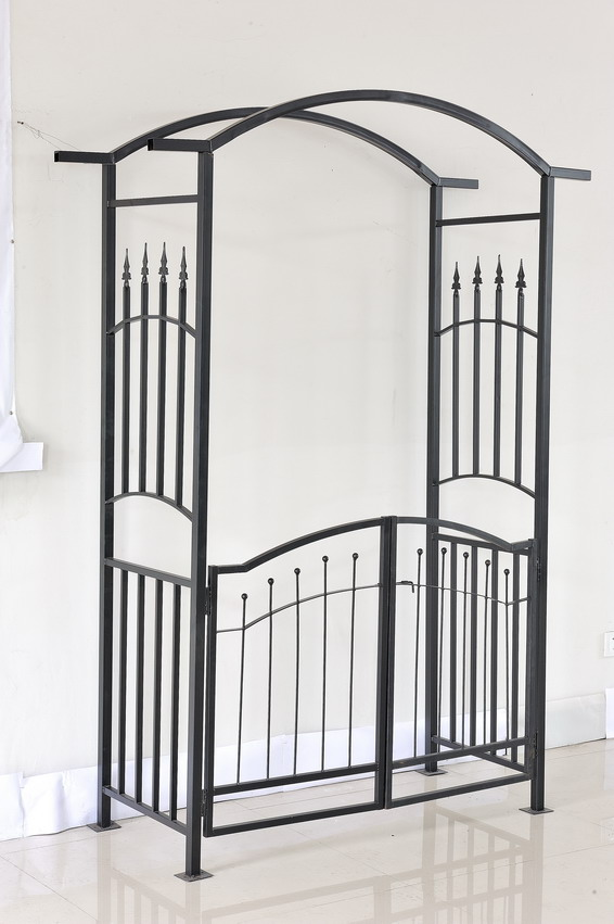 Foldable Metal rose Garden Arch with gate Outdoor furniture