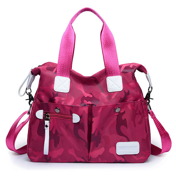 Women Nylon Camouflage Tote Handbags Front Pockets Shoulder Bags Crossbody Bags