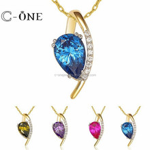 Best Selling Jewelry Drop Cut AAA Grade CZ 925 Sterling Silver Pendant with Many Color Available