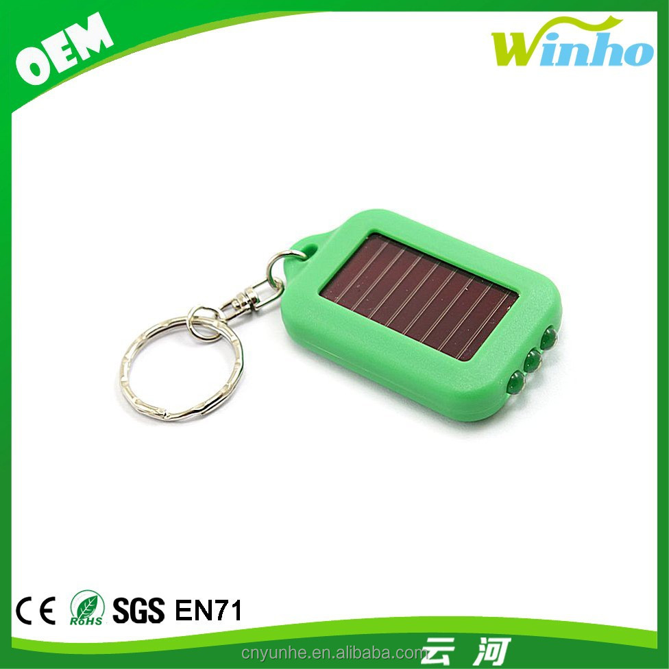 Winho LED Green Mini Solar Power Flashlight Torch Keychain