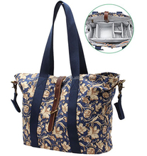 Iblue BT095 Cotton Canvas Diaper Bag With Insert Organizer Printed Tote (flower pattern)