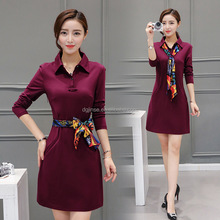 Latest Fashion Design Office Ladies wear Long Sleeve Polo Neck Casual Slim Dress For Elegant Women