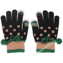 Dot Pattern 2-finger Capacitive Winter Touch Screen Gloves for Women