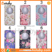NEW ARRIVALFashion Quick Circle Window Caller ID Window Leather Flip Oracle Texture Flower Pattern Case for LG G3 D855 D850 D851