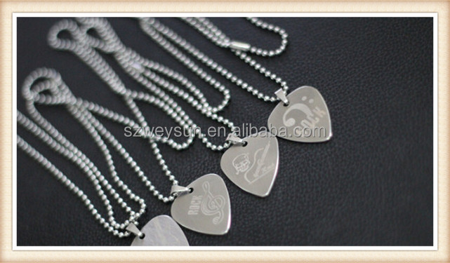 pick necklace Handmade stainless steel guitar pick personalize pick