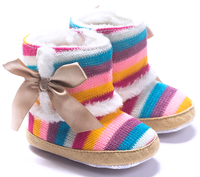 Latest Fashion Cotton Fabric Wholesale Baby Shoes Rainbow Colored Shoes Baby Boots