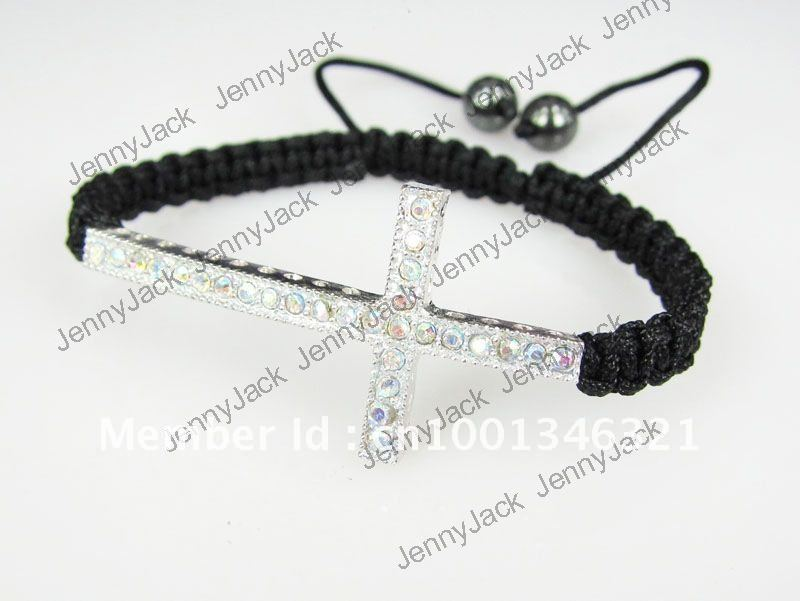 CROSS Promotion 15pcs Mixed Color Rhinestones Honesty Crystal Beads Sideways Cross Shamballa Bracelet with Macrame