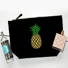 charm design gold pineapple print Eco-friendly custom pouches glitter cosmetic bag