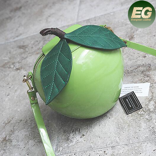 Fashion lady's apple shaped bag cute leaf shoulder bags with good quality japanned leather SY8160