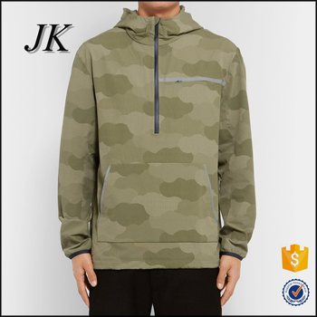 Mens Camo Print Half Zip Pull Over Hoodie Windbreaker With Hood