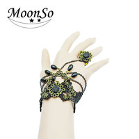 >>>Hot sale fashion party jewelry holloween decoration lace bracelet with beads and ring MOONSO KS2480