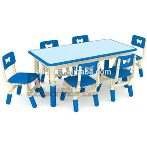 New design nursery school toddler plastic kids play table and chair furniture set