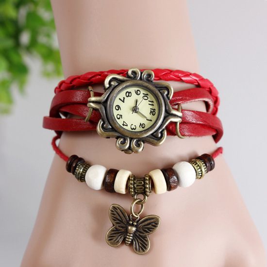China factory good price wholesale butterfly vintage fashion lady watches ladies.7 colors stock.