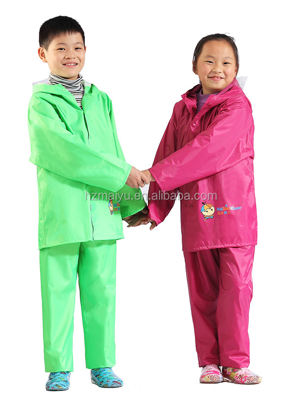 high quality colorful waterproof children 100% pvc raincoat