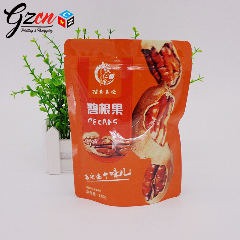 China factory custom printing plastic food grade packing nuts pecans snack ziplock bag