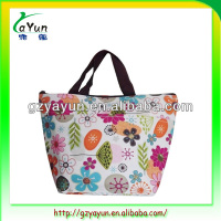 fashion nylon flower bag with zipper