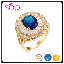 New design lady finger ring around the broken crystal Shiny Sapphire blue diamond ring