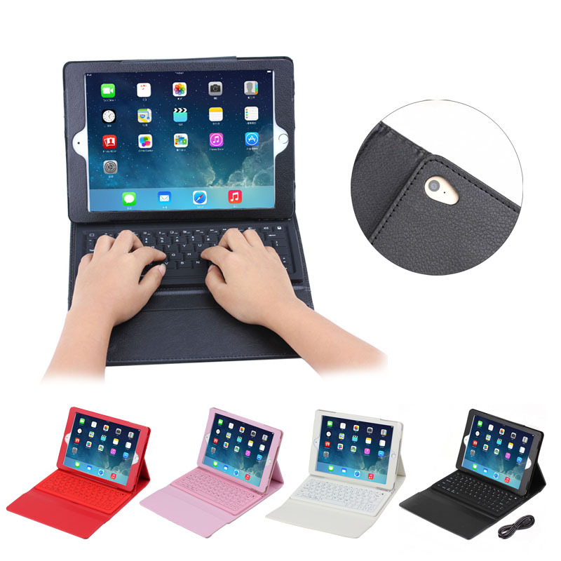 Litchi pattern bluetooth keyboard leather case for iPad Air 2 with Magnet Stand
