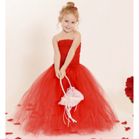 Red color vintage girl wedding tutu dress handmade crochet long top girl casual party dresses size 2-8 years