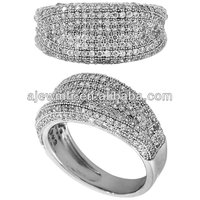 Micro pave setting jewelry italy silver ring