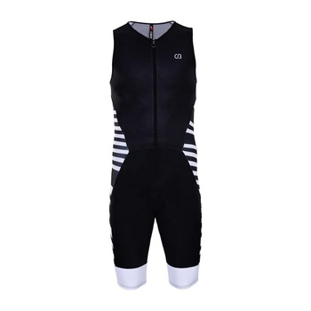 High Performance Black Sleeveless Triathlon Compress Suit for Cycling Race