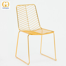 Outdoor gold/rose gold color leaf shaped metal wire chair