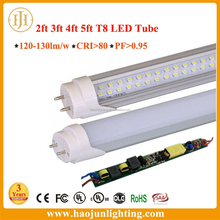 new design t8 led tube CRI>80 PF>0.9 120-130LM/W 3years warranty with CE&RoHS certificates