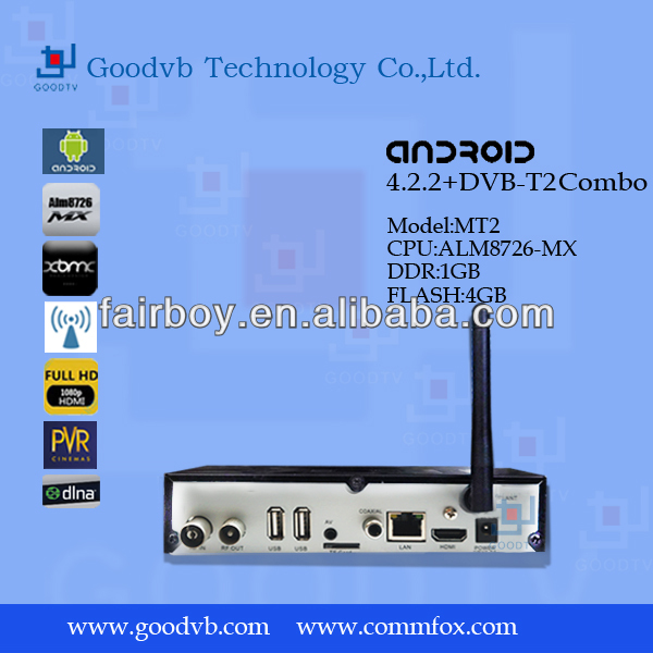 Android network media player dvb-t2, XBMC Preinstalled,1080P Full HD,ARM Cortex A9, Internet TV