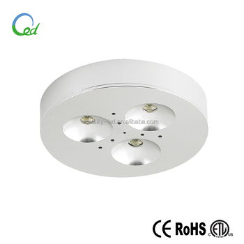 5 year warranty 12V 3W CE ETL approved led puck light for cabinet