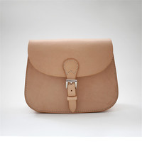 Classic Nude Color Simple Saddle Bags, Tanned Customs Leather Messenger Bag for Girls Women Retro Vintage Designer Brand Bag