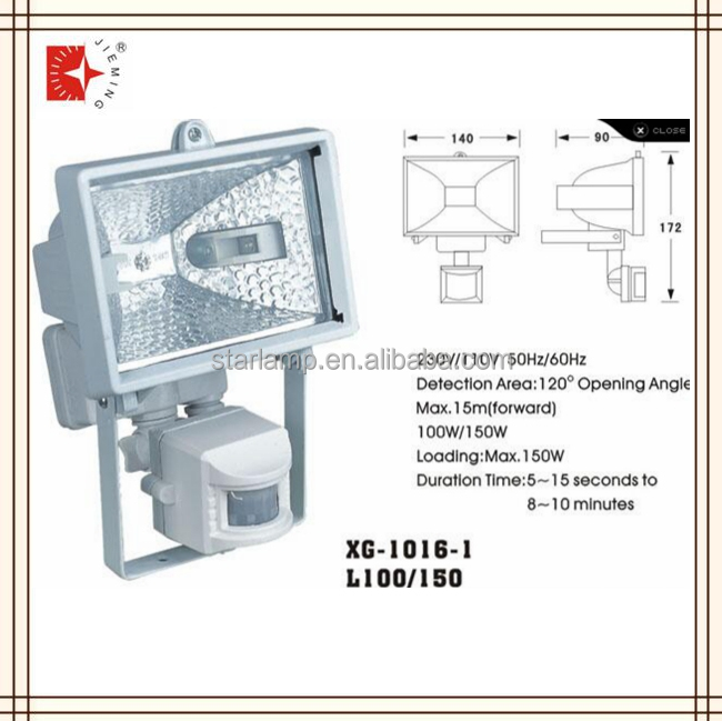 Infrared Sensor Lighting 150w Floodlight with sensor 230v/110v 120degree opening angle outdoor motion sensor lamp