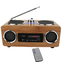 Super Bass Stereo Bamboo Multimedia Speaker TF Card / USB / FM Radio / MP3 player + Remote Control