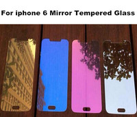 Colorful Hot Selling Mobile Phone Colorful Mirror Tempered Glass Screen Protector For Iphone 6