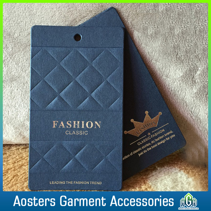 wholesale custom printing fashion hang tags for clothing tags embossed