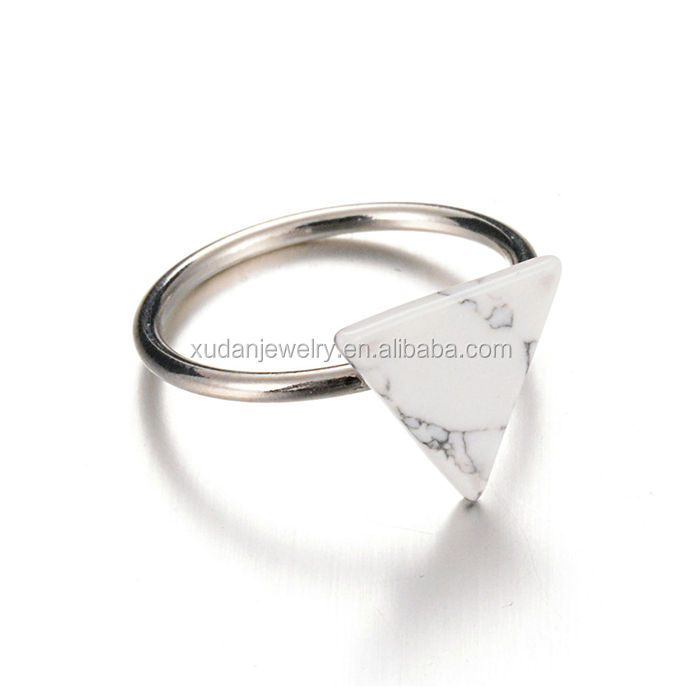White O Latest Silver Finger Ring Designs Rings Silver Jewelry Triangle Marble Stone Jewelry
