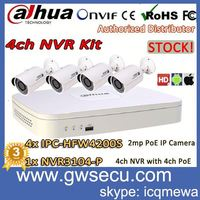 dahua new technology p2p onvif diy poe 4ch nvr kit nvr3104-p full hd 1080p with 2mp ir bullet ip camera kit ipc-hfw4200s