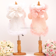 Wholesale High Quality Dog Clothes Winter Warm Coat Pet Clothes For Dogs And Cats Overcoat And Cute Bowknot