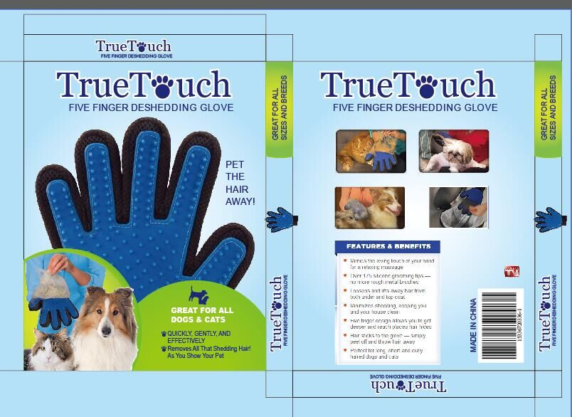 True Touch Five Finger Deshedding Glove Gentle Efficient Pet Dogs Cats Grooming