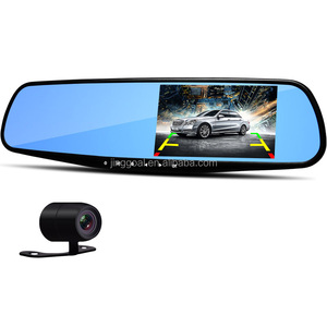 "AK47 4.3"" Rearview Mirror 1080P Car DVR Camera Dual Lens Video Recorder Dash Cam"