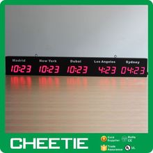Hangzhou Supply Large Wall Mounted Led Display Time Zone Digital World Time Clocks