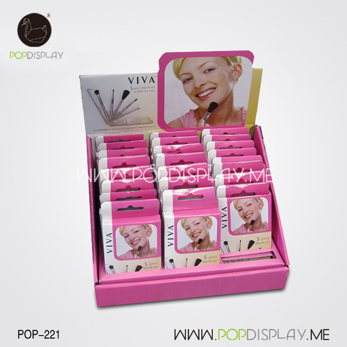 Oem Corrugated Eye Shadow Paper Material POSM Makeup Cosmetic shippers Cardboard Display Stand Case Table Top Pop PDQ