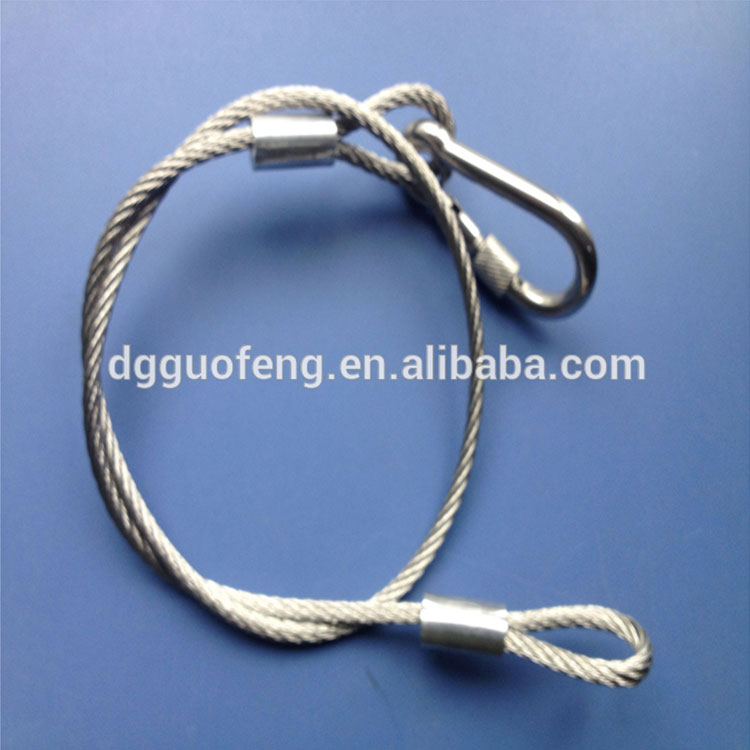 Customize Size hot sale galvanized steel cable wire with 5*50 carabiner and terminal