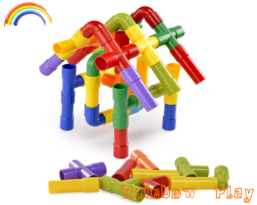 colorful puzzle pipe toy connecting plastic building block toys for kids